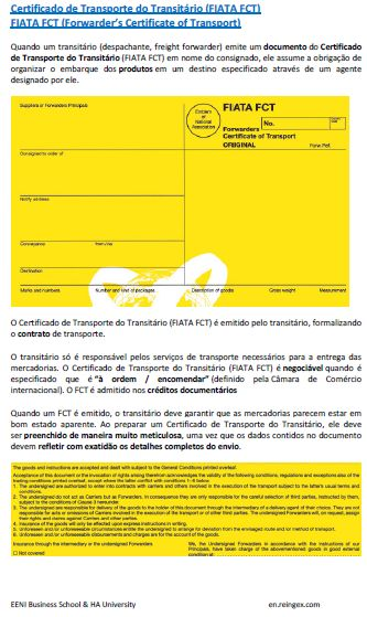 Certificado de Transporte do Transitário (FIATA FCT), curso